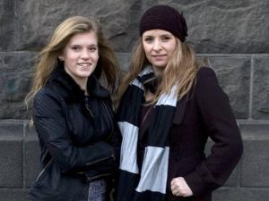 In this December 30, 2012 photo, Blaer Bjarkardottir, 15, left, and her mother, Bjork Eidsdottir, are photographed outside a court building in Reykjavik.